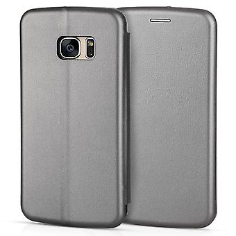 Samsung Galaxy S7 Leather Effect Stand Wallet Case - Grey