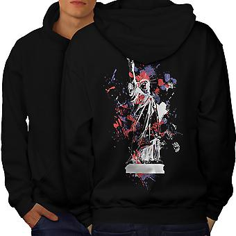 Statue Freedom New York Men BlackHoodie Back | Wellcoda