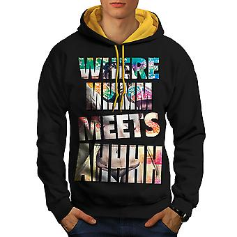 Hommes Sexy Hot Girl Nude Beach noir (capot or) contraste Hoodie | Wellcoda