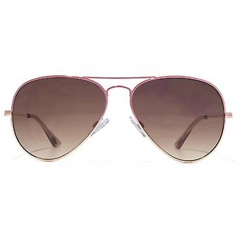 American Freshman Classic Metal Pilot Sunglasses In Pink To Gold Gradient