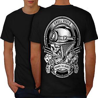 Rider Biker Gun Skull Men BlackT-shirt Back | Wellcoda