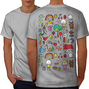 Cute Colorful Men GreyT-shirt Back | Wellcoda