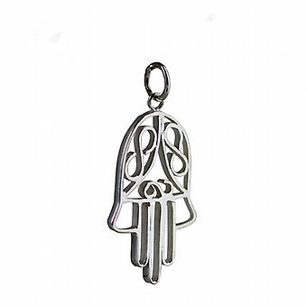Silver 29x18mm Hand of Fatima Pendant or Charm
