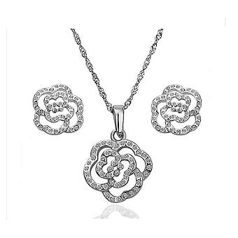 Womens Silver Flower Jewellery Earrings and Necklace Set