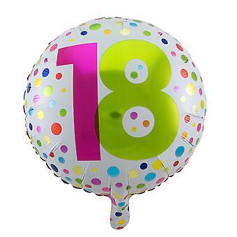 Foil balloon birthday age number 18 rainbow dots