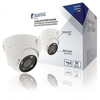 König Full HD Dome Surveillance Camera With Zoom, IP66 White