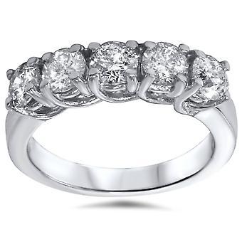 1 1/2ct Five Stone Trellis Diamond Wedding Ring 14K White Gold
