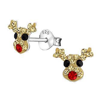 Reindeer - 925 Sterling Silver Crystal Ear Studs