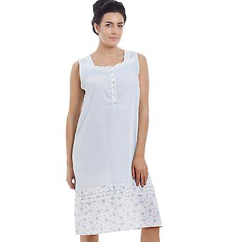 Camille Light Blue Sleeveless Floral Print Nightdress
