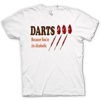 Mens T-shirt - Darts Cos You're An Alcoholic - Funny