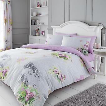 Madeline Floral 4Pc Duvet Cover with fitted sheet Vintage Polycotton Bedding Set