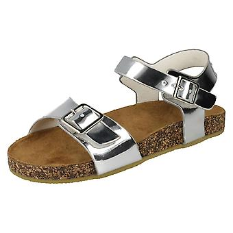 Girls Spot On Flat Buckle Strap Sandals - Silver Synthetic - UK Size 2 - EU Size - EU Size 34 - US Size 3