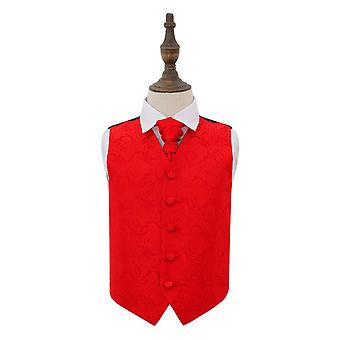 Red Paisley Wedding Waistcoat & Cravat Set for Boys
