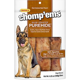 Ruffin' It Chomp'ems Purehide Bars 6.35Oz-Smoked Beef Flavor