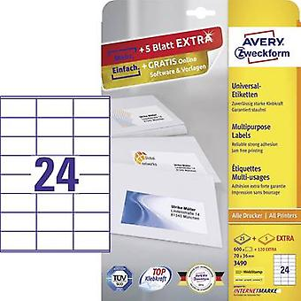 Blanco de papel Avery Zweckform 3490 etiquetas 70 x 36 mm