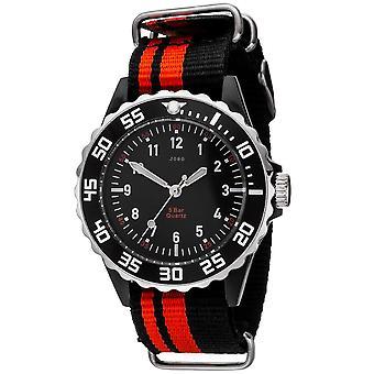 JOBO children wrist watch quartz analog black red watch