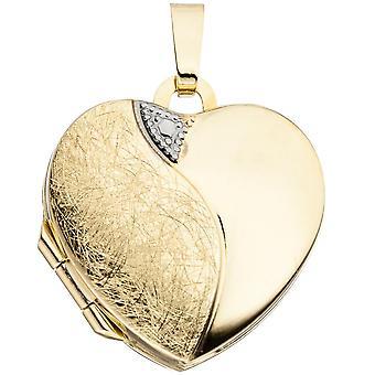 Medaillon 333/-G goldenes Medaillon teilrhodiniert teileismattiert Herzmedaillon