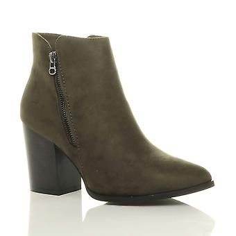 Ajvani womens high block heel gunmetal zip smart pointed ankle boots booties