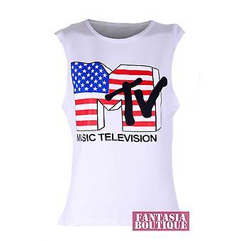 Dames mouwloos verschillende Trendy Print Vest Women's T-Shirt