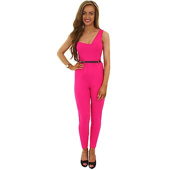 Ladies Sleeveless One Shoulder Women's Summer Party Crepe Belted Jumpsuit