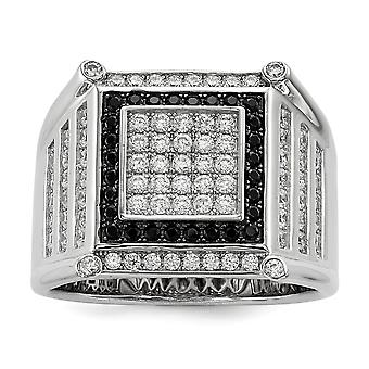 925 Sterling Silver Pave Rhodium-plated and Cubic Zirconia Brilliant Embers Black And White Mens Ring - Ring Size: 9 to