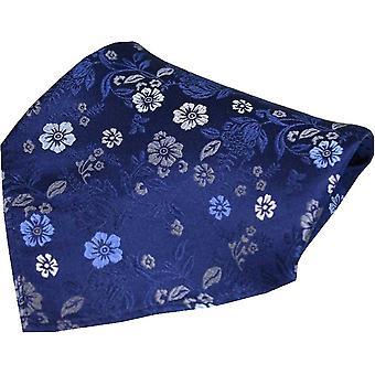 Posh and Dandy Flowers Luxury Silk Pocket Square - Navy
