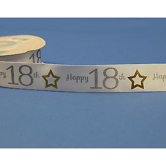 25mm White Happy 18th Birthday Printed Ribbon - 20m | Ribbons & Bows for Crafts