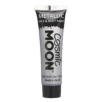 Cosmic Moon - Metallic Face Paint makeup for the Face & Body - 12ml - Create mesmerising metallic face paint designs! - Silver