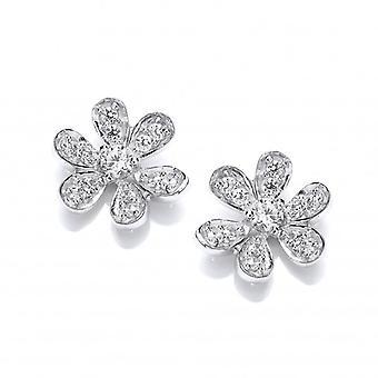 Cavendish Französisch Sterling Silber und CZ-Blumen-Bolzen-Ohrringe