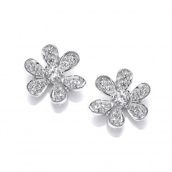 Cavendish Franse Sterling zilver en CZ bloem Stud Earrings Stud Earrings