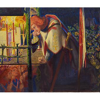 Sir Galahad em ruínas, Dante Gabriel Rossetti, 29,1 x 34.5 cm