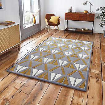 HK 1374 grå gul rektangel mattor moderna mattor