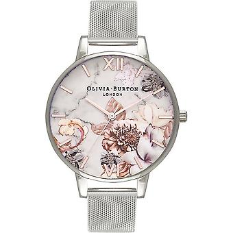 Olivia Burton ladies watch White Dial big dial CUT AND SEW white floral ROSE GOLD & SILVER MESH OB16CS10