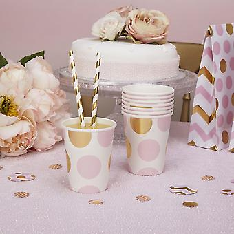 Party Papier Tassen Pink und Gold Dots Baby Dusche / Taufe/Party x 8