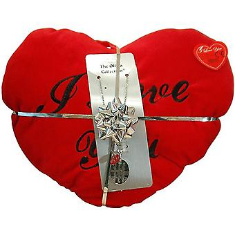 TOC 'A Hug Is A Great Gift' Pendant Necklace & Red Heart Cushion Gift Set