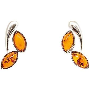 The Olivia Collection Sterling Silver Leafy Amber Stud Earrings