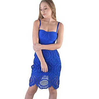 LMS Knee Length Bandage And Crochet Dress In Blue