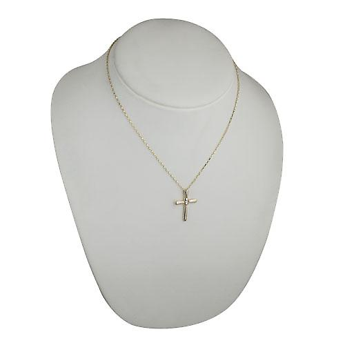 9ct Gold 30x22mm plain fancy Cross set with a 10pt diamond on a belcher Chain 18 inches