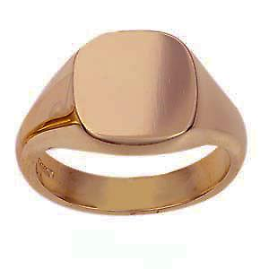 9ct rose gold gents plain cushion signet ring 14x13mm