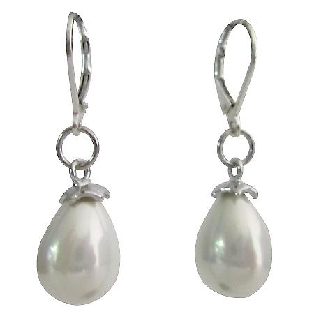 Freshwater Drop Pearl in Sterling Silver Lever Backs White Earrings