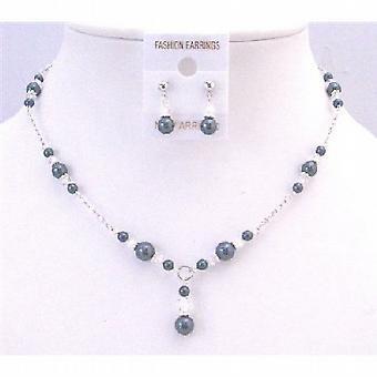 Trendy Classy Stylish Tahitian Pearls & Clear Crystals Wedding Jewelry