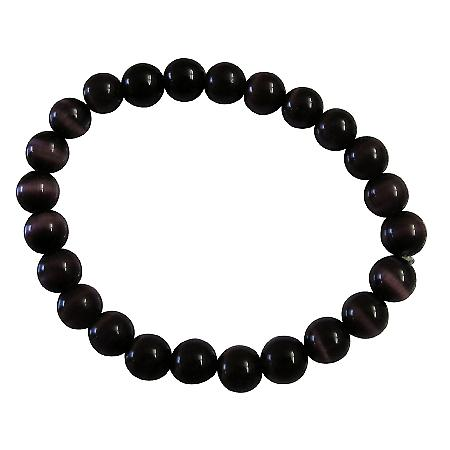 Handmade Stretchable Custom Dark Purple Cat Eye Beaded Bracelet