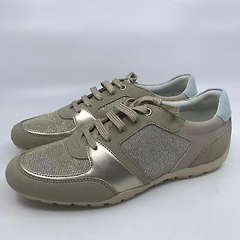 Geox D RAVEX Damen Sneaker Turn-Schuhe Schnür-Schuhe Gold Beige Glitzer NEU OVP