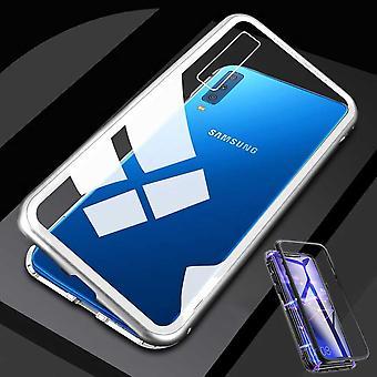 Para Samsung Galaxy A50 6.4 polegadas ímã / metal / vidro caso parachoque prata / preta caso capa nova