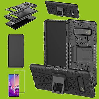 Hybrid Case Tasche Schwarz für Samsung Galaxy S10 Plus G975F 6.4 Zoll + 4D H9 Hart Glas