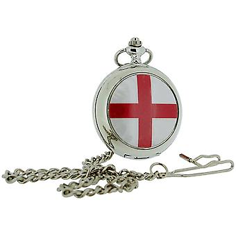 Boxx St Georges Cross White Dial Gents Pocket Watch 12 Inch Chain Boxx339