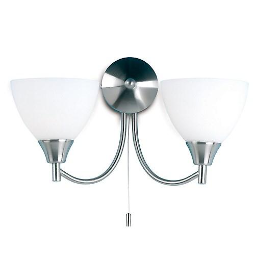 Endon 1805-2SC Switched Double Wall Light With Opal Glass