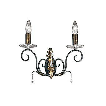 Traditional Double Arm Wall Light with Forged Scrolls