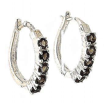 TOC Sterling Silver Smokey Rhinestone Set Creole Hoop Earrings 19mm