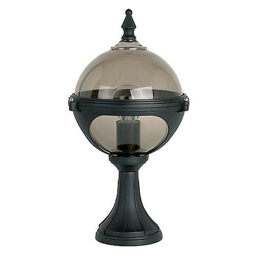 Endon YG-8002 Black Aluminium Outdoor Globe Pillar Post Top With Smoked Diffuser